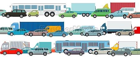 rush hour autos im stau vektor
