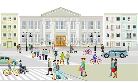 stadtansicht mit fussgaengerueberweg und fussgaengern illustration