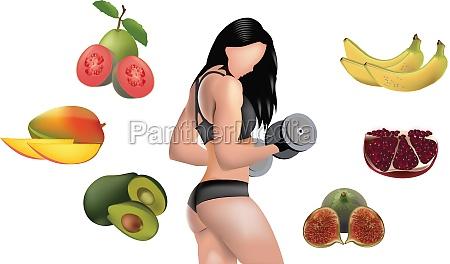 frau bodybuilder umgeben von fruechten