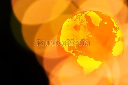 globus und gelbe lichter