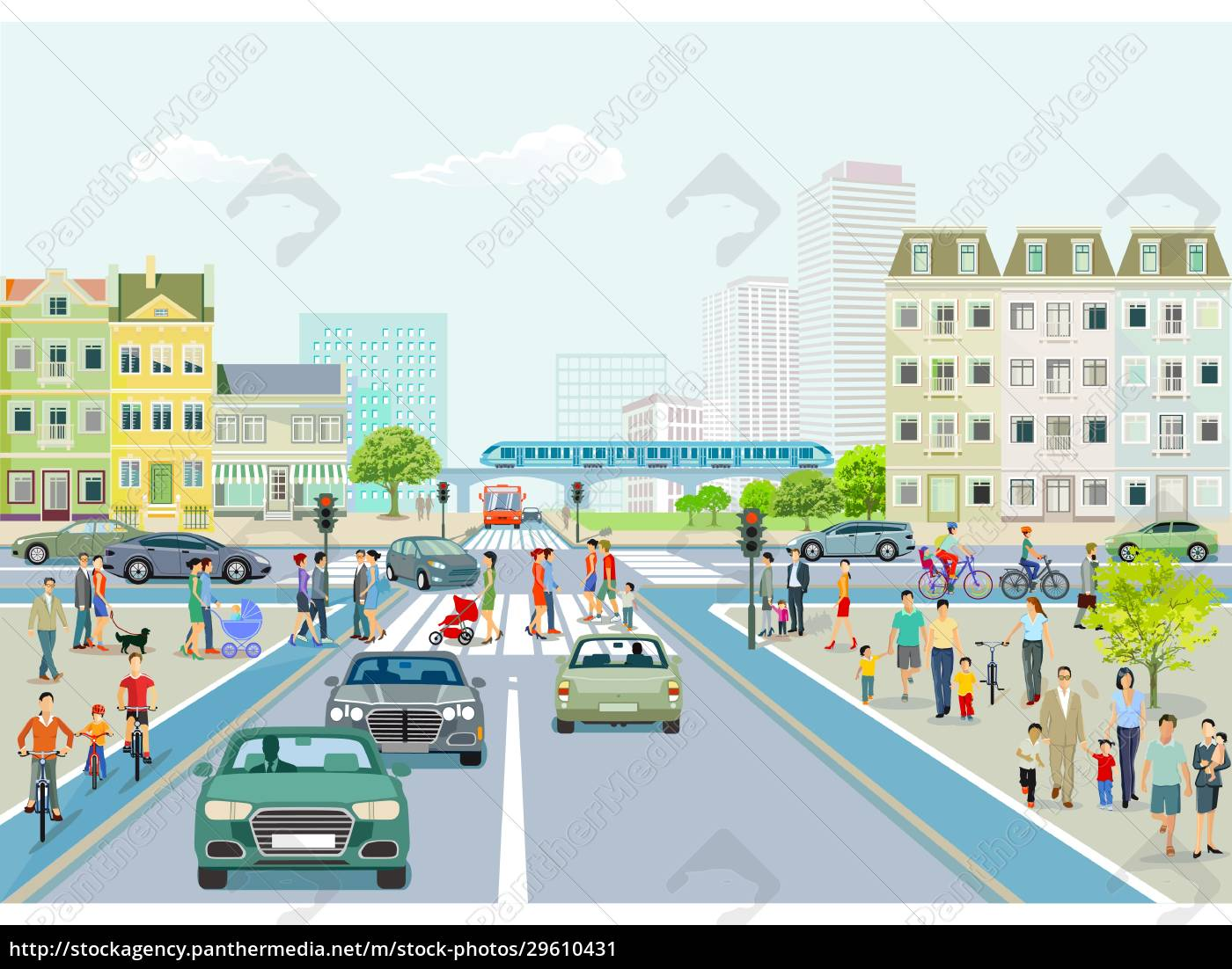 stadt, mit, straßenverkehr, wolkenkratzern, mehrfamilienhäusern, und, fußgängern, auf - 29610431