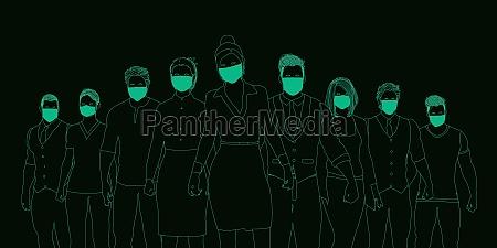 geschaeftsleute die medizinische masken tragen