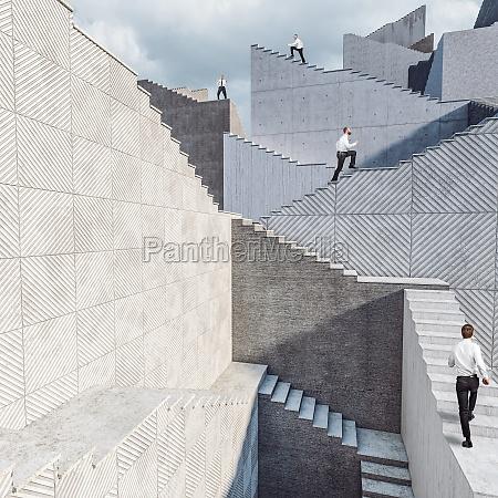 geschaeftsleute die auf der betontreppe sitzen