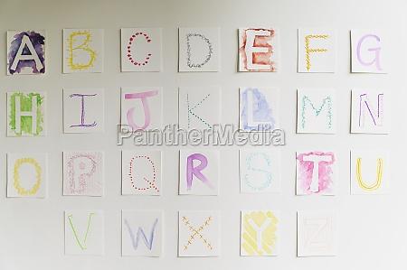hausgemachtes alphabet an der wand