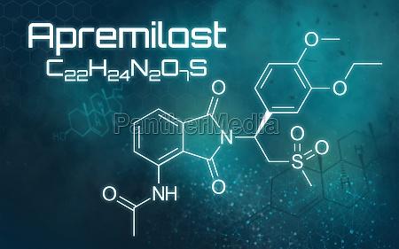 chemische formel von apremilast auf futuristischem