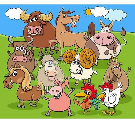 funny, cartoon, farm, animals, characters, group - 29630517