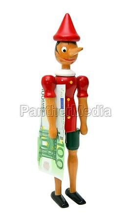 pinocchio mit 100 euro holzspielzeug