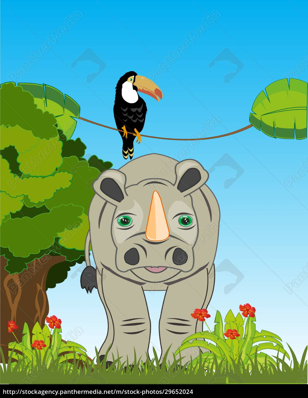wildtier-nashorn, und, vogel-toucan, auf, der, natur - 29652024