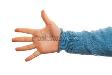 konzept der nummer fuenf mit hand