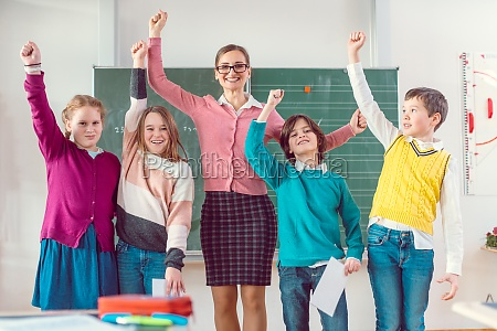 students, and, teacher, having, fun, in - 29654280