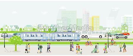 stadtsilhouette mit strassenbahn autos und bus