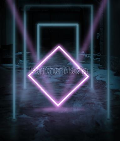 blau leuchtende neonrahmen und rosa quadrat