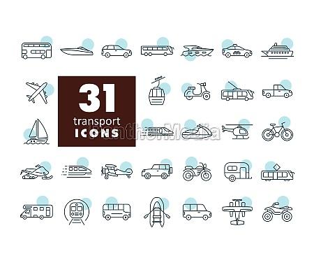 transportvektor flachsymbol set