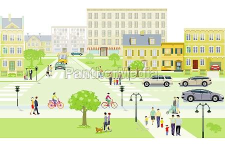 strassenverkehr mit familien und menschen auf