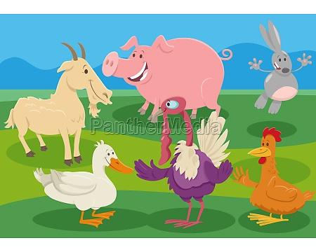 cartoon bauernhof tierfiguren auf dem land