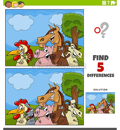 differences, educational, game, with, farm, animals - 29667845