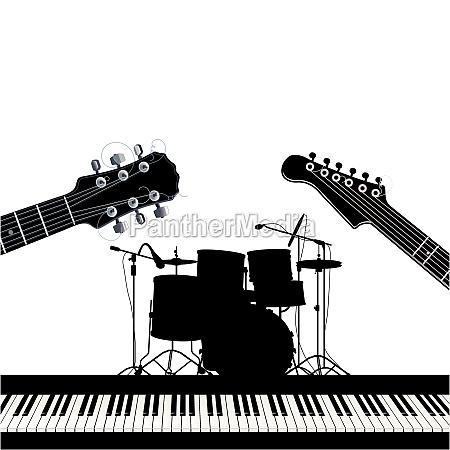 musikinstrumente gitarren schlagzeug und klavier rockmusik