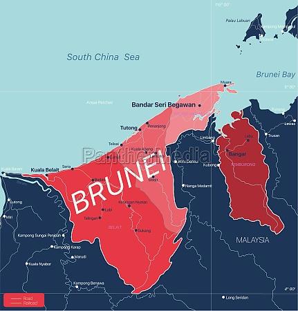 brunei land detaillierte bearbeitbare karte