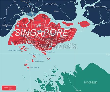 singapur detaillierte bearbeitbare karte