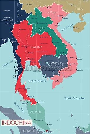 indochina detaillierte editierbare karte