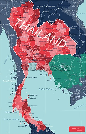 thailand land detaillierte bearbeitbare karte