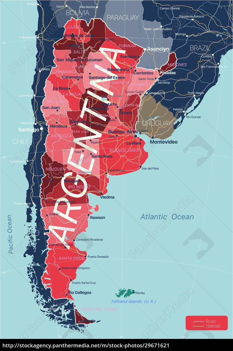 argentina, country, detailed, editable, map - 29671621