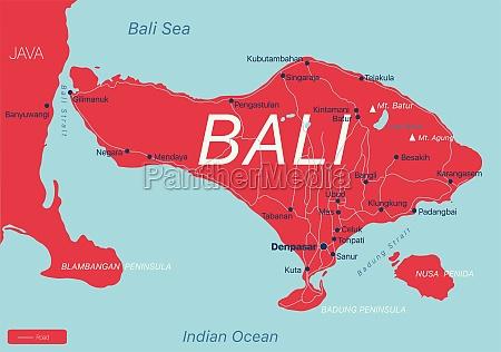 bali, land, detaillierte, bearbeitbare, karte - 29671588