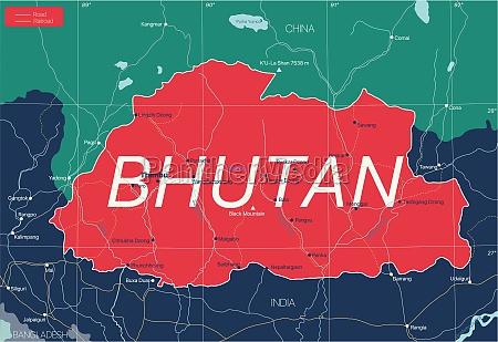bhutan, country, detailed, editable, map - 29671590