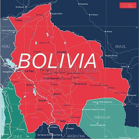 bolivien, land, detaillierte, bearbeitbare, karte - 29671623