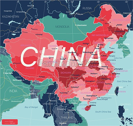 china, country, detailed, editable, map - 29671593