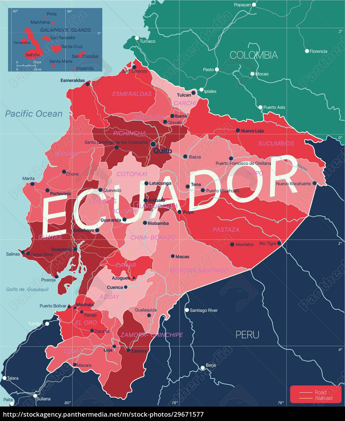 ecuador, country, detailed, editable, map - 29671577