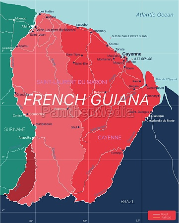 french, guiana, country, detailed, editable, map - 29671579
