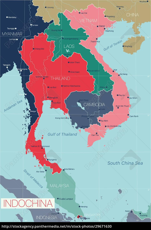 indochina, detaillierte, editierbare, karte - 29671630