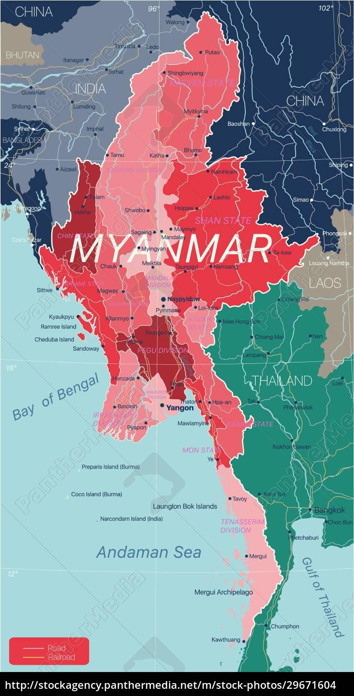 myanmar, country, detailed, editable, map - 29671604
