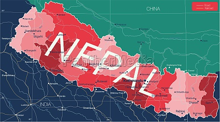 nepal, country, detailed, editable, map - 29671605