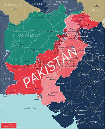 pakistan, country, detailed, editable, map - 29671606