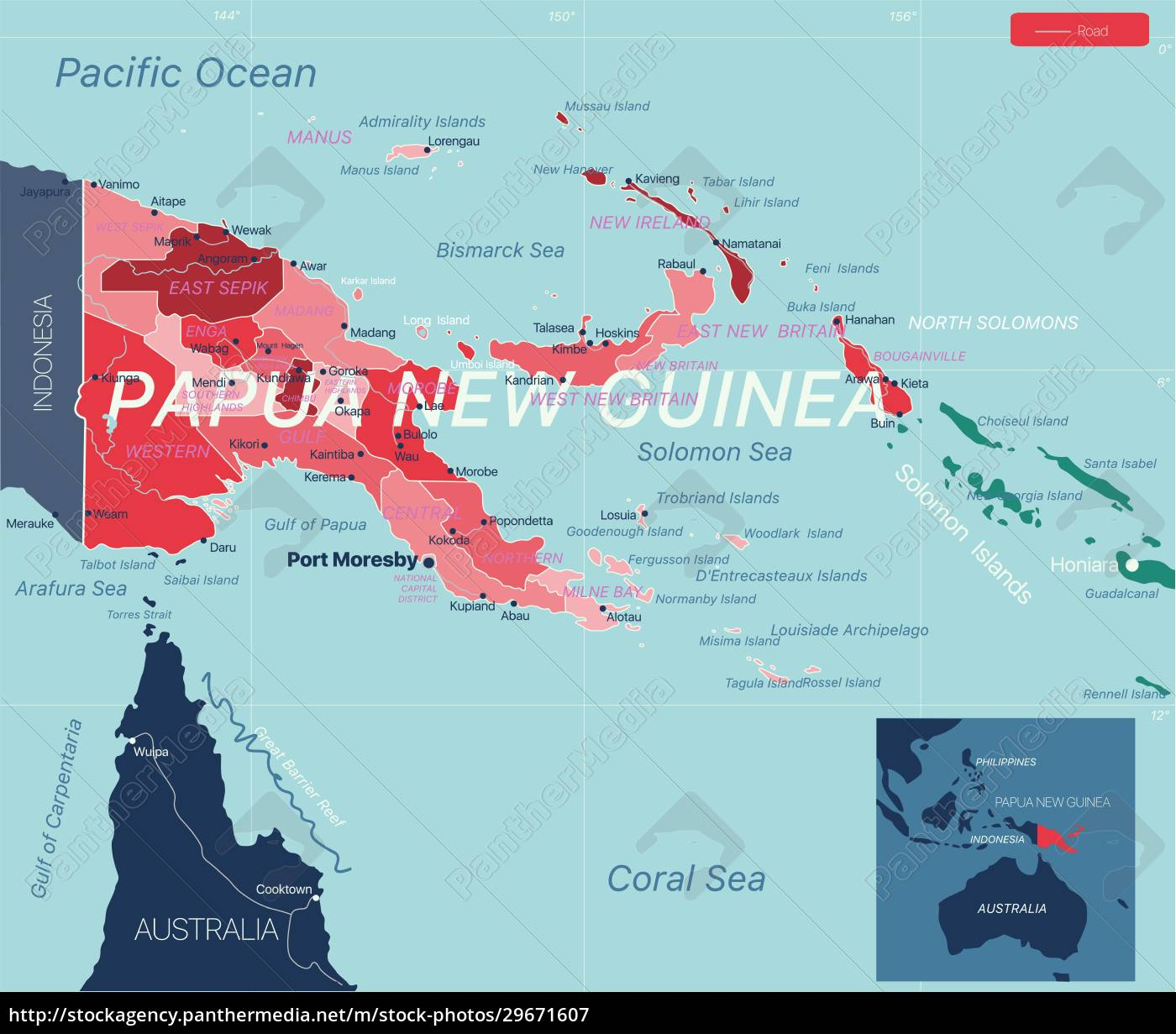 papua, new, guinea, country, detailed, editable - 29671607