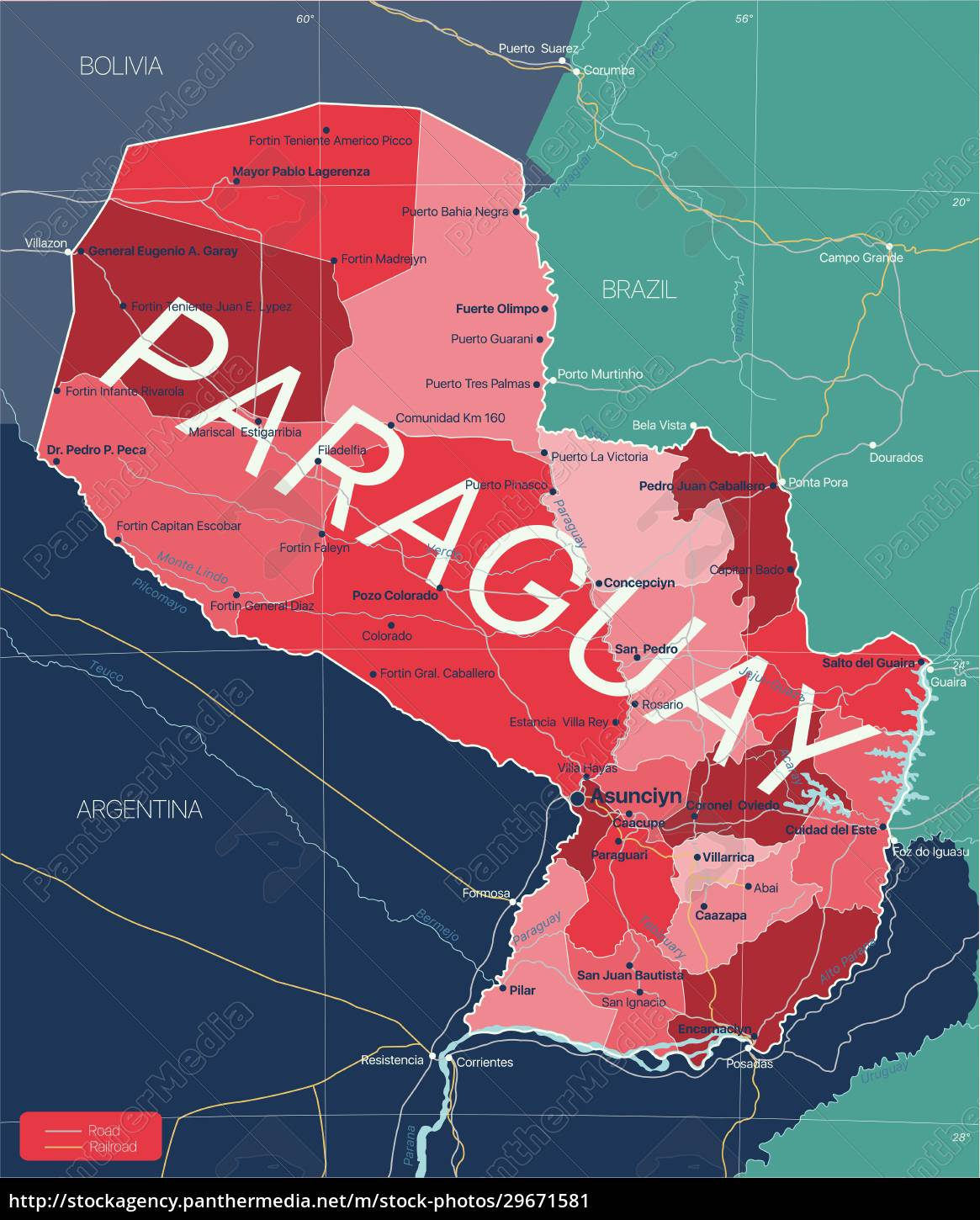 paraguay, country, detailed, editable, map - 29671581