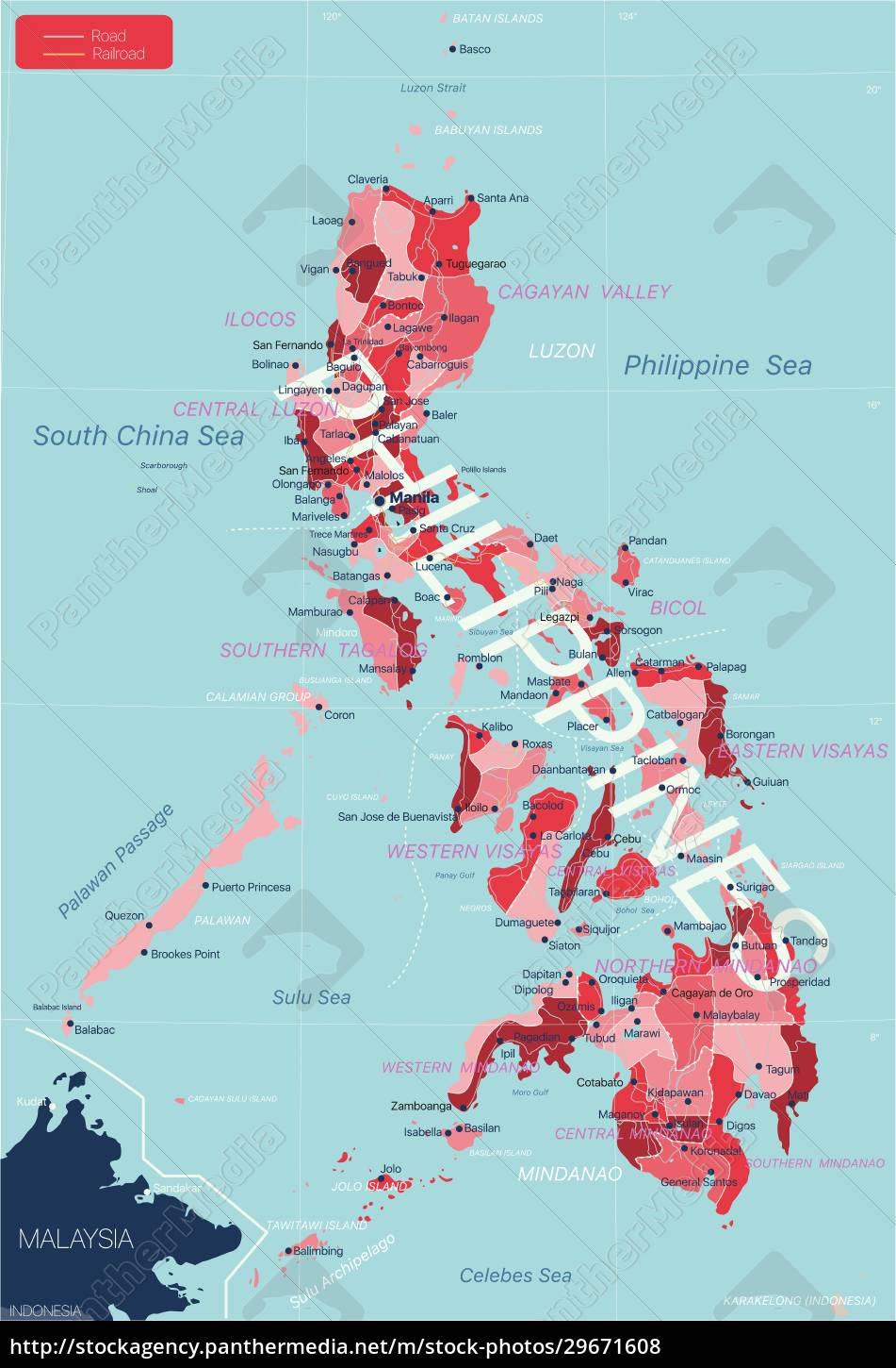philippines, country, detailed, editable, map - 29671608