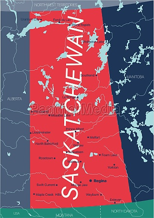 saskatchewan, province, vector, editable, map, of - 29671648
