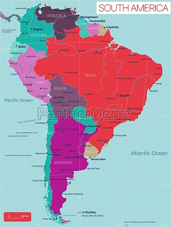 south, america, country, detailed, editable, map - 29671622