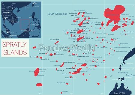 spratly, island, detailed, editable, map - 29671610