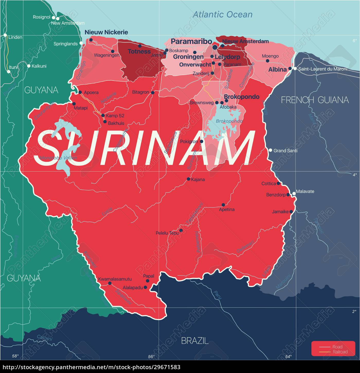 surinam, country, detailed, editable, map - 29671583
