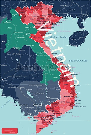vietnam, country, detailed, editable, map - 29671646