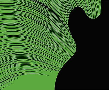 abstrakte gruene gitarre