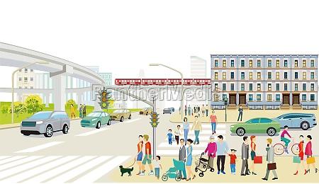 stadtsilhouette, mit, straßenverkehr, und, erhöhtszug, menschen, auf - 29681091