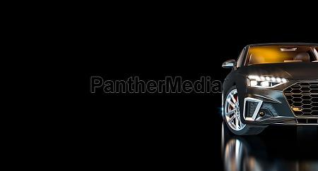 schwarzes luxusauto mit beleuchteten scheinwerfern auf