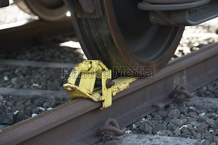 eisenbahn bremsschuh eines zuges
