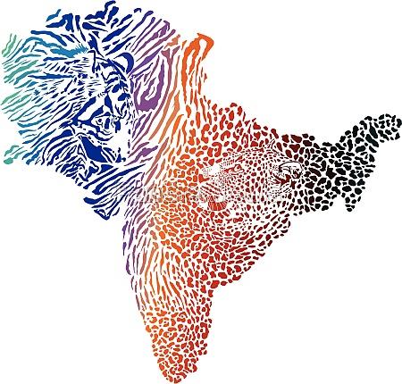 farbkarte des indischen subkontinents mit tiger