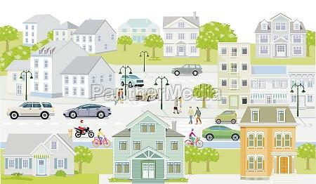 stadtsilhouette mit fussgaengern und strassenverkehr mehrfamilienhaeuser